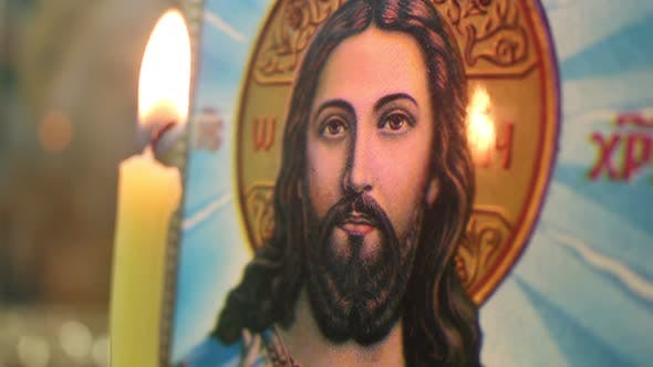 Thumbnail for Candle And Icon Of Jesus