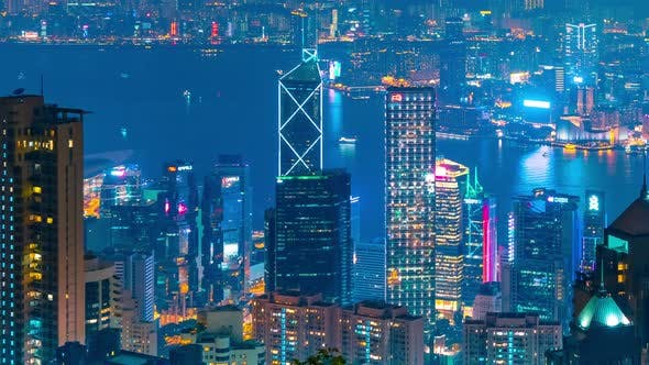 Thumbnail for Timelapse Night View Skyscrapers and Hong Kong Cityscape