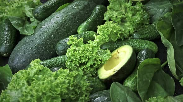 Thumbnail for Green Background of Fresh Lettuce Leaves Avocado Cucumber Zucchini
