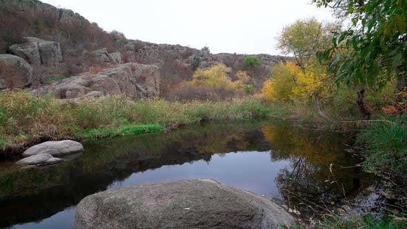 A Fast Clean Stream Runs Among Smooth Wet Stones Surrounded By Tall Dry Lumps