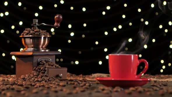 Thumbnail for Background with Lights, Coffee Grinder Filled with Roasted Coffee Beans