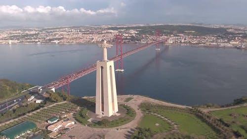 Aerial of Lisbon landmarks