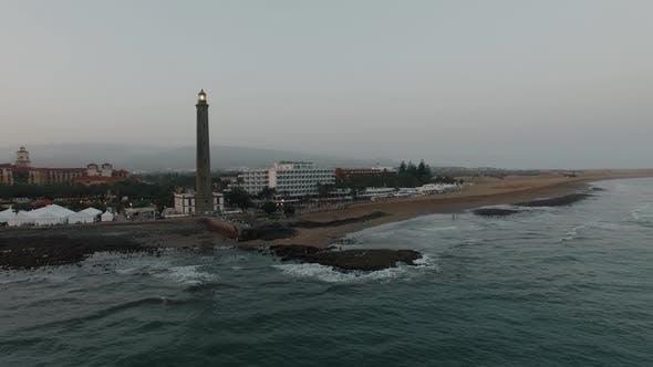 Lighthouse on Gran Canaria Coast, Aerial