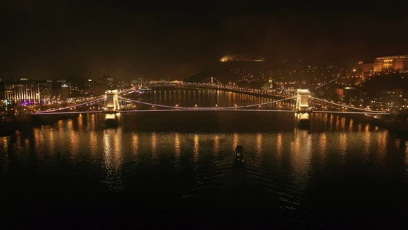 Thumbnail for Night Aerial View Bridge Budapest City