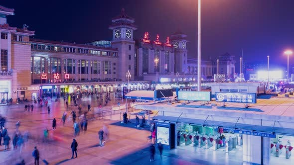 Thumbnail for Night time lapse of the exterior of the Beijing Train Station