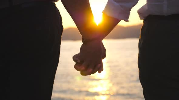 Thumbnail for Silhouette of Male and Female Hands Holding Each Other at Sunset Against an Sea Background. Young