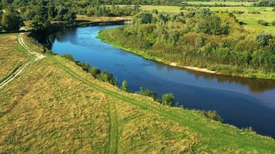 Aerial View Of Summer River Coasts Landscape In Summer Day