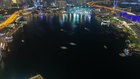 Thumbnail for Singapore Night Cityscape Business City Around the Lake Time-lapse