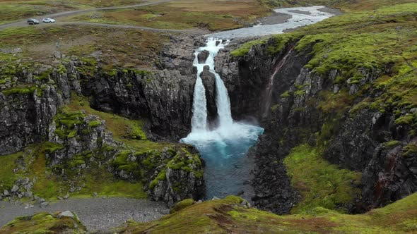 Iceland Waterfall Nature Travel Landscape in Icelandic Nature Background, Top View