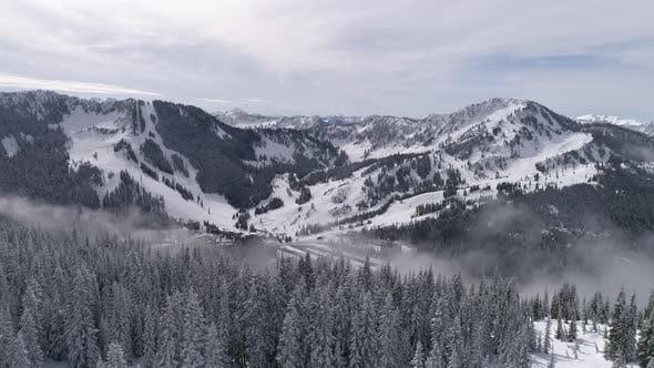 Thumbnail for Rising Aerial Of Pacific Northwest Winter Ski Resort Stevens Pass Shot In 4 K