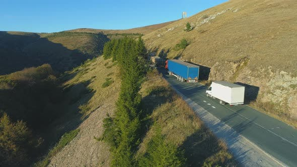 Thumbnail for Aerial View Of Trucks Driving Along A Mountain Way in Bulgaria