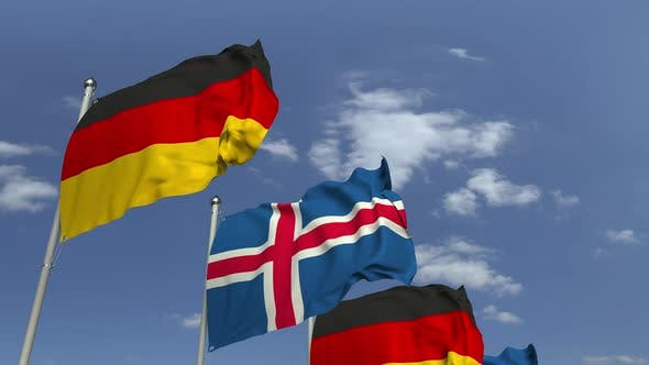 Thumbnail for Waving Flags of Iceland and Germany