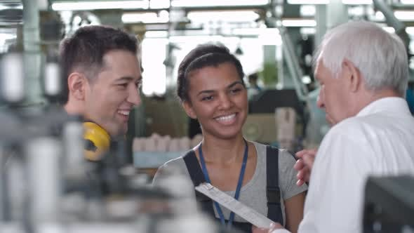 Thumbnail for Cheerful Factory Workers Discussing Tasks