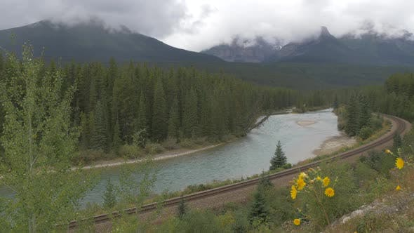 Thumbnail for Pan right of a landscape in Banff National Park