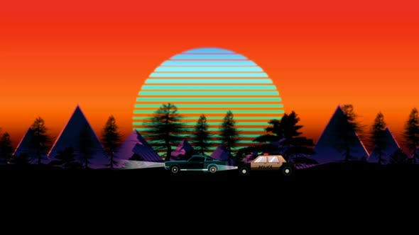 80's Police Car Retro Sunset Loop