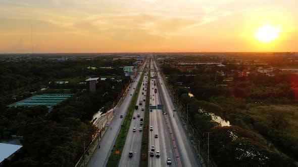 Thumbnail for Hyperlapse Timelapse of Night City Traffic on Main Street Intersection Roundabout in Bangkok