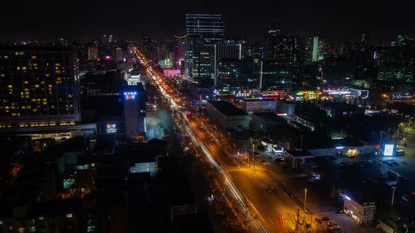 Thumbnail for Chinese Highway with Traffic at Beijing Buildings Timelapse