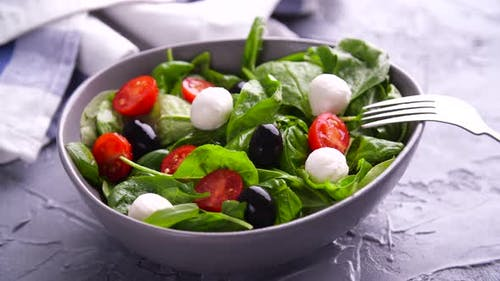 Vegetarian And, Organic Food Concept. Caprese Italian or Mediterranean Salad. Tomato Mozzarella