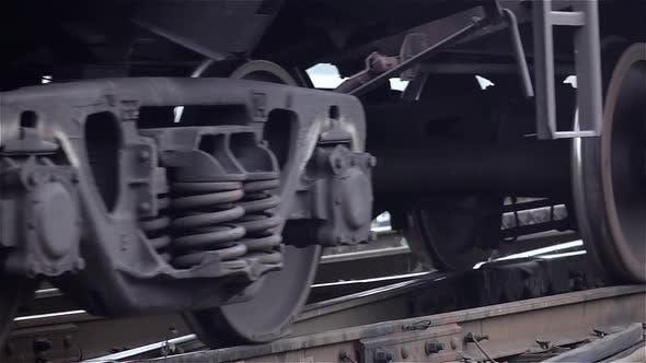 Thumbnail for Close-ups of Steel Diesel Railcar Train Bogie Wheels
