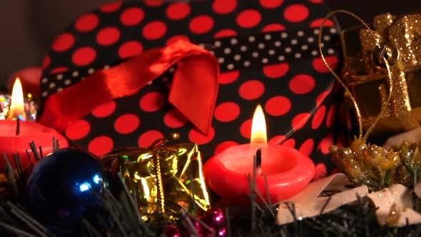 Christmas Decoration On Candle Lights