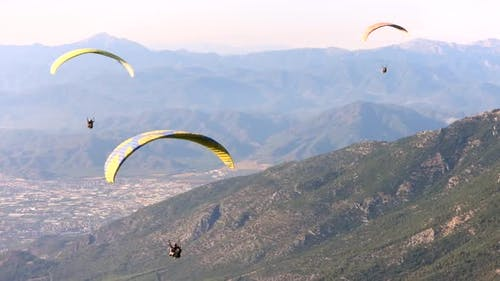 Paragliders Flying With Paragliding in Sky Over the Forest, Mountain Top and Sea