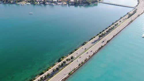 MacArthur Causeway, Biscayne Bay, Government Cut and Miami Beach from the air