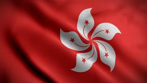 Thumbnail for Hong Kong Flag Closeup Blowing In Wind