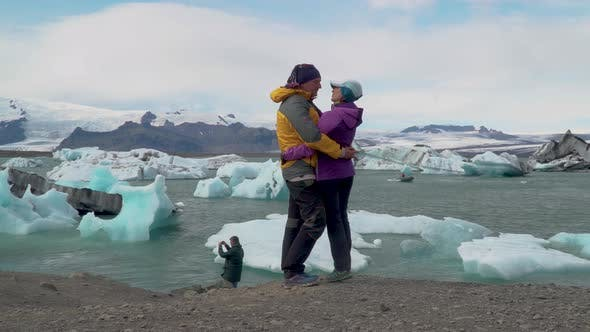 Thumbnail for Happy a Man and a Woman Near Glacier Lagoon
