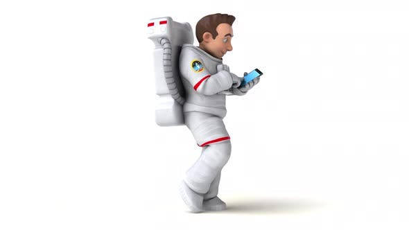 Amusement 3D dessin animé astronaute avec un téléphone