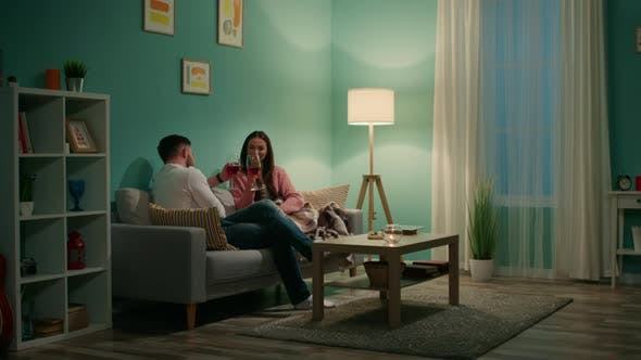 Young Couple Has Romantic Evening at Home