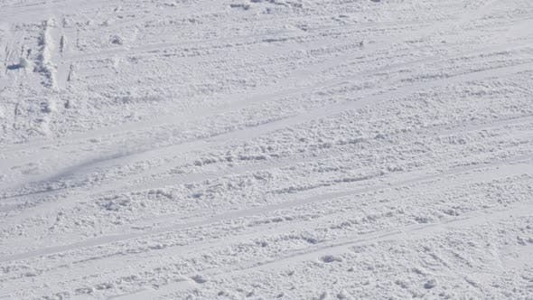 Thumbnail for Alpine downhill and skiers passing  by slow motion 1920X1080 HD footage - Close-up skiing winter spo