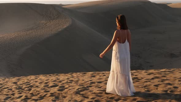 Thumbnail for Stunning Lady Walking Barefeet in Grand Canarie Sand Dunes