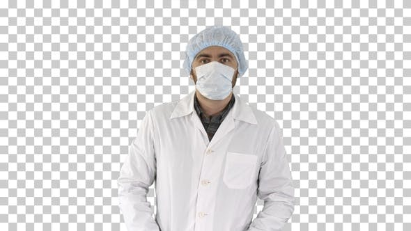 Thumbnail for Portrait of Medical Doctor Putting Mask and Hat On, Alpha Channel