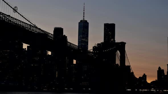 New York Brooklyn Bridge at Night in New York City Manhattan US