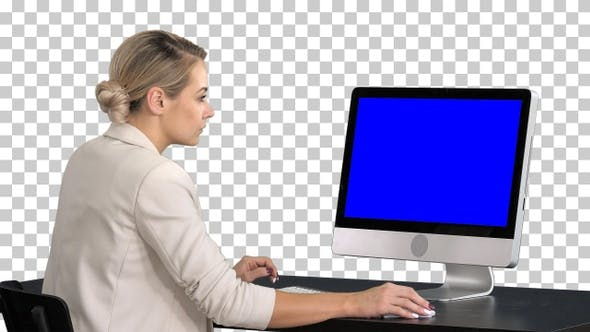 Thumbnail for Young woman working in office sitting, Alpha Channel