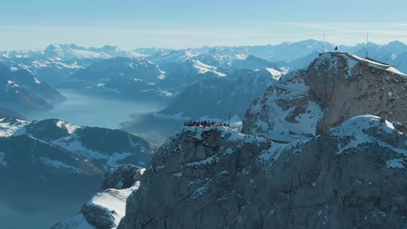Thumbnail for Viewpoint with Tourists on Mountain Pilatus. Switzerland. Aerial View