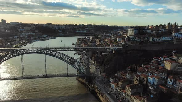 Thumbnail for Old City View with Metal Ponte Luis Bridge Over Douro River