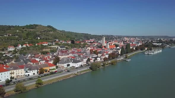 Aerial of Krems, Wachau Valley, Austria