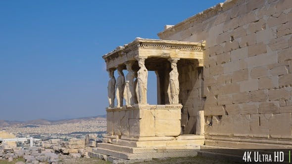 4K Porch of the Caryatids Close-up Parallax in Athens, Greece