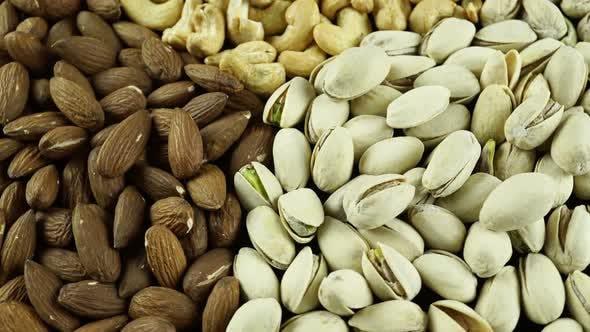 Rotating Nuts Almonds Hazelnuts And Cashews.