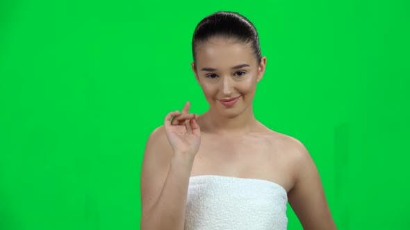 Thumbnail for Lovely Girl in White Towel Coquettishly Smiling, Waving Hand and Showing Gesture Come Here