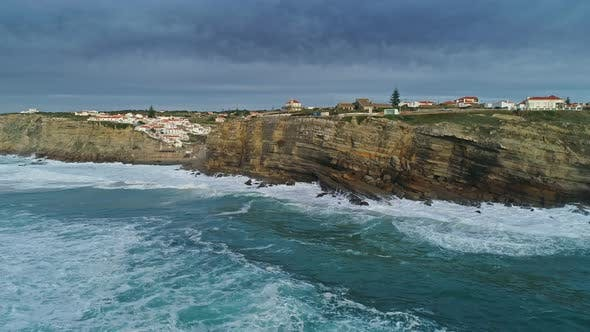 Thumbnail for Aerial of Coastal Town Azenhas Do Mar in Portugal