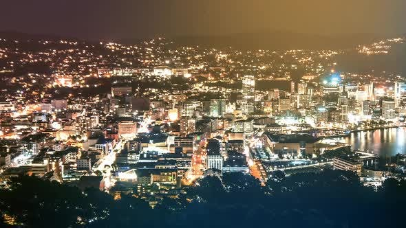 Evening Vibes of Night Life and Traffic in Wellington Capital City of New Zealand