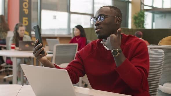 Black Businessman Talking on Video Call