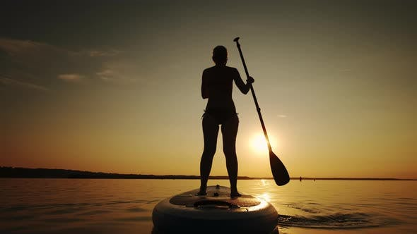 Siluet of Woman Standing Firmly on Inflatable SUP Board and Paddling Through Shining Water Surface