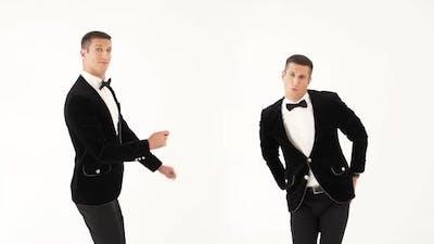 Two fun men in black suits. Parody of the dancers