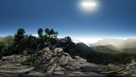 Thumbnail for VR 360 Aerial Camera Moving Above Rocks