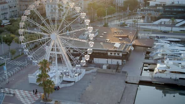 Thumbnail for Sunrise in the Port of Cannes in France with a Ferris Wheel