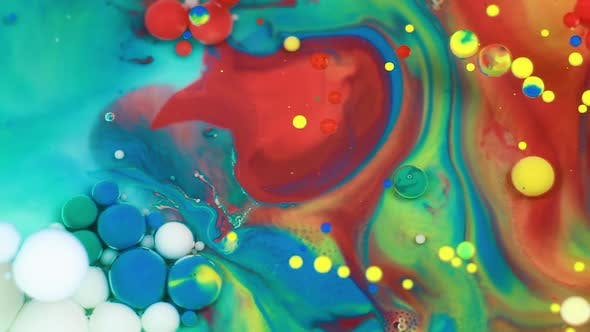 Thumbnail for Abstract Multicolored Bubbles Paint. Slow Motion. Top View