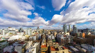 Buenos Aires panorama with fast moving clouds